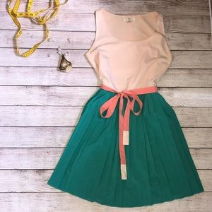 Ezra Size medium baby pink and teal pleated dress